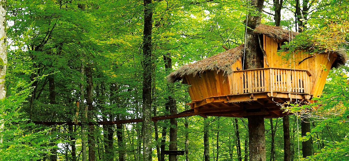 l 39 arbre cabane nuit insolite dans une cabane perch e dans les arbres la limite de la haute. Black Bedroom Furniture Sets. Home Design Ideas